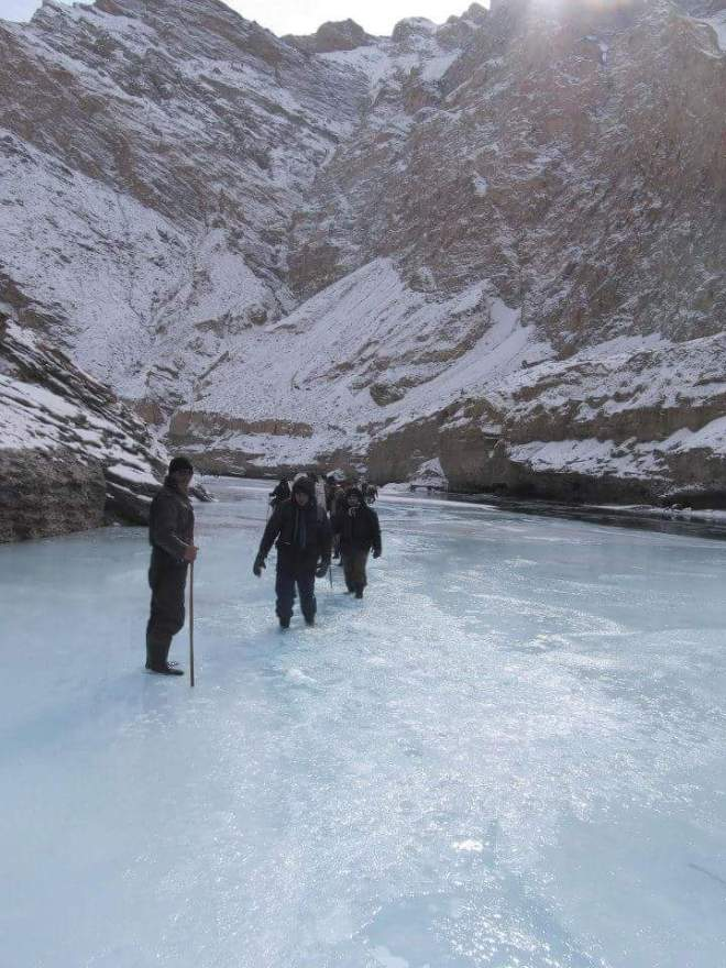 Walking through icy water