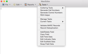 MarcEdit Mac MarcEditor Tools Menu wireframe showing functions targeted for the first release