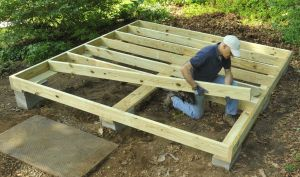 Shed Floor Frame of pressure treated lumber