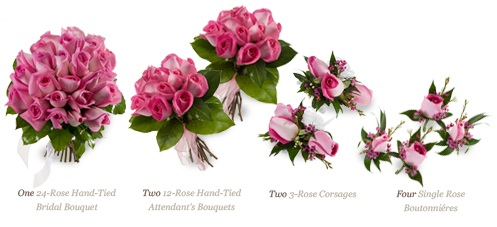 Nine-piece rose wedding package.