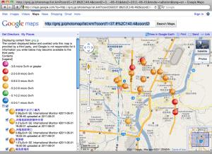 Radiation Photo Map of Fukushima CIty (June 1, 2011, measured on foot)
