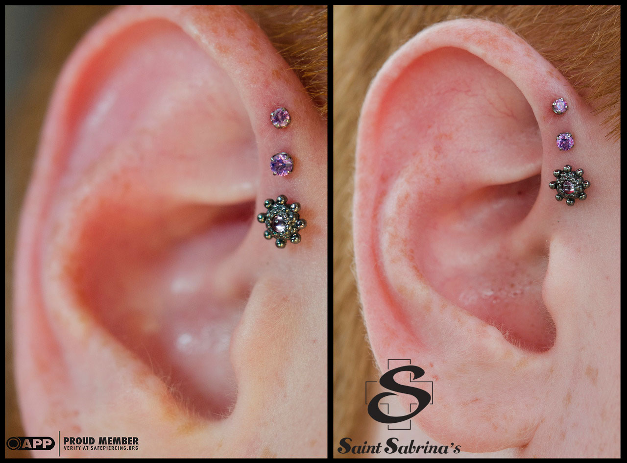 triple forward helix piercings with bvla and neometal jewelry saint sabrina 39 s piercing. Black Bedroom Furniture Sets. Home Design Ideas