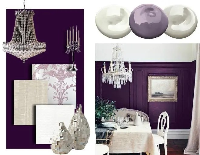 living room design creating a purple color scheme