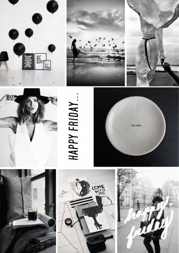 Digital  black and white mood board inspiration created on www.sampleboard.com