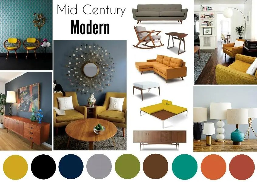 Mid Century Modern Interior Mood Board created on www.sampleboard.com