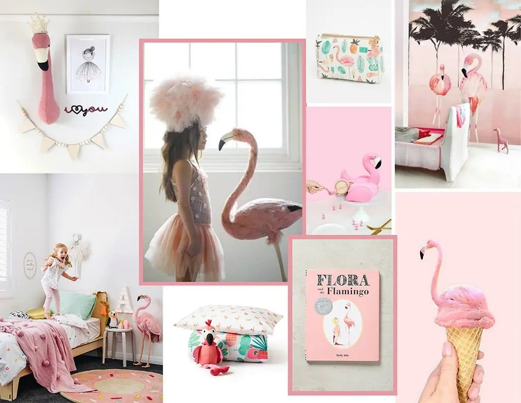 flamingo-inspired kid's room