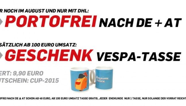Portofreie Lieferung und Vespa-Tasse kostenlos