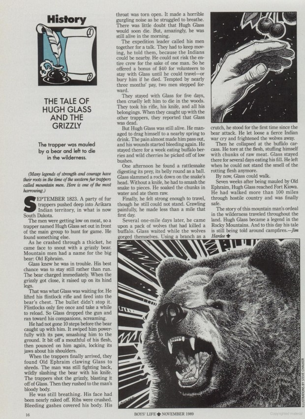 Hugh Glass Boys Life November 1989