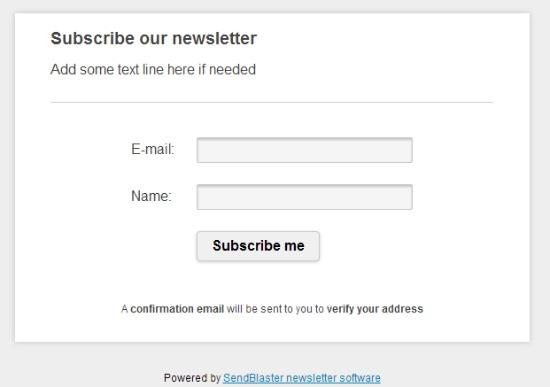 sendblaster signup form