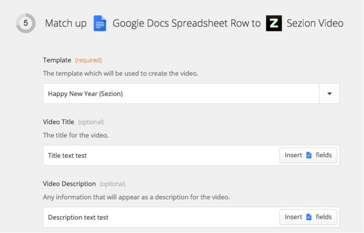 Zapier Turorial: Google Docs Spreadsheet to Sezion Video