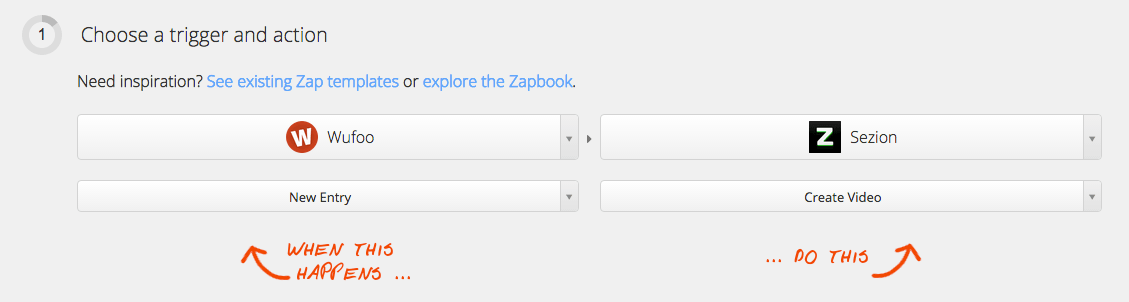 Use Zapier to connect Wufoo with Sezion to automatically make personalized video