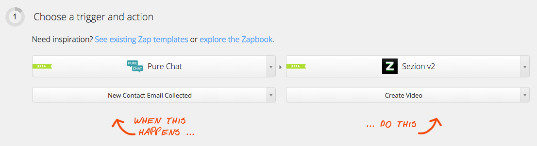 Zap: Pure Chat and Sezion to create a personalized video for every user or website visitor