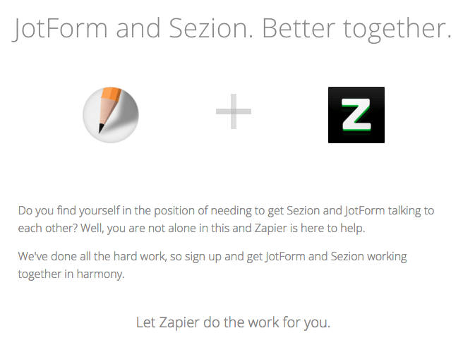 Jotform and Sezion integration