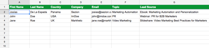 google sheets example to create personalized content