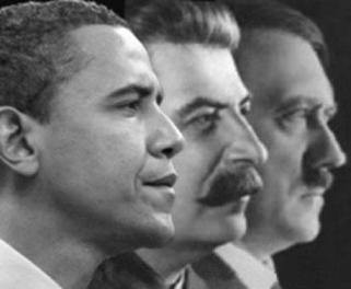 BFFs Barack Obama, Josef Stalin, and Adolf Hitler (left to right) pose together for a picture. What more proof do you need?