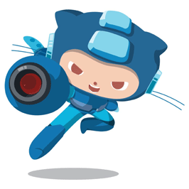 Github logo in a megaman outfit