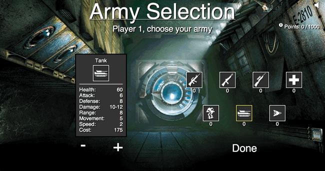 Chronos Army  Selection screen