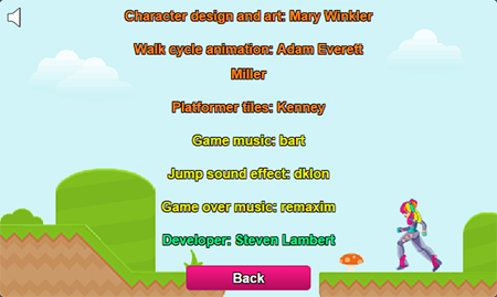 The game's credit screen listing all those whose assets I used.