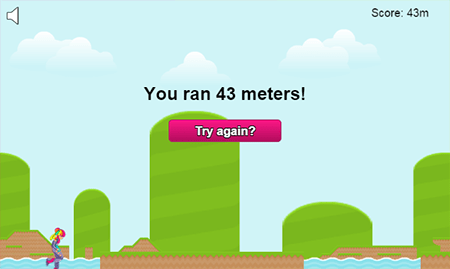 The game's game over screen which tells the player how far they ran (in meters) and a button to let them try again.