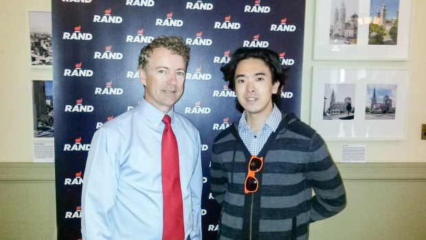 Rand Paul after his speech in Seattle, WA to a crowd of (mostly) his supporters.