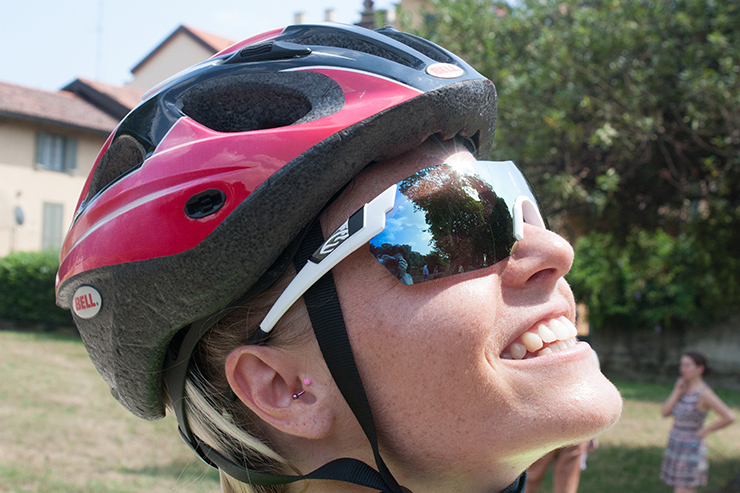 Rider wearing helmet and sunglasses with widescreen lenses.