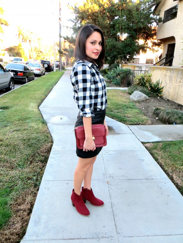 leather skirt and plaid