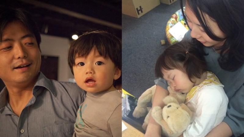 どちらの写真も親子ではありませんよ。パパママ以外の社員が面倒をみています
