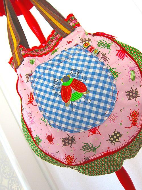 Baumwolldruck Lara mit Käfern - Tasche: Farbenmix
