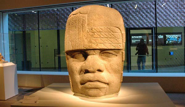 Olmec head - San Lorenzo Monument 4 at the De Young Museum