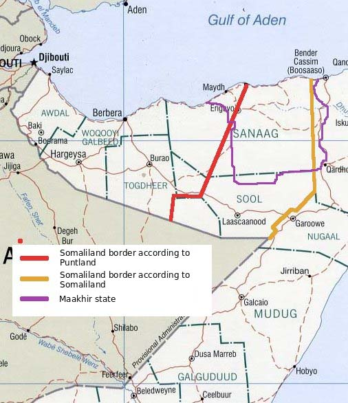 Somaliland border dispute with Puntland. As of 1 July 2007, part of the disputed territory declared the state of Maakhir, which rejoined Puntland in 2009