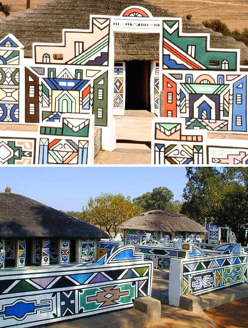 2_The colourful and bright geometric designs with which the Ndebele beautify their homes