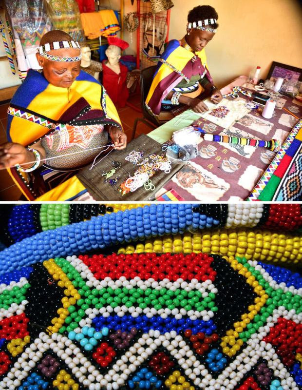 Ndebele Arts and Crafts & A close up of the delicate and skilful Ndebele beadwork. Flickr (1) & (2)