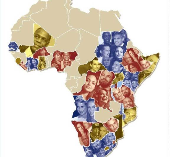 Mother Jones map of African countries that have been claimed by celebrities