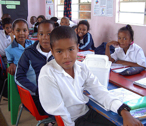 Cape coloured school children at Imperial Primary School in Eastridge, Mitchell's Plain (Cape Town, South Africa).