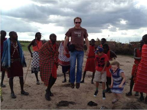Travel with kids Jumping Tradition with Maasai