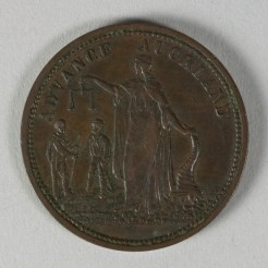 Reverse of token issued by Morrin & Co., New Zealand, minted by Heaton & Sons of Birmingham. Te Papa (NU002363)