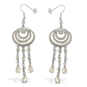 White Austrian Crystal Lever Back Earrings