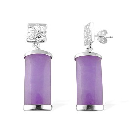 ARTISAN CRAFTED Enhanced Purple Jade Sterling Silver Earring