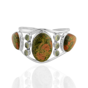 ARTISAN CRAFTED Sterling Silver Unakite,Prehnite Bangle