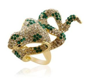 Creature Couture Black,White and Green Austrian Crystal Snake Pattern Ring