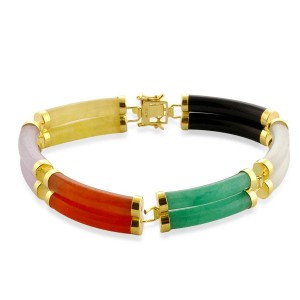 Great multi coloured jade and black agate bracelet, great at just £ 39.99