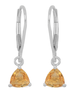 Great Brazilian citrine and silver lever back earrings.