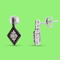 White and black diamond earrings