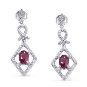 AFRICAN RUBY AND DIAMOND 1.80CT DROP EARRINGS IN