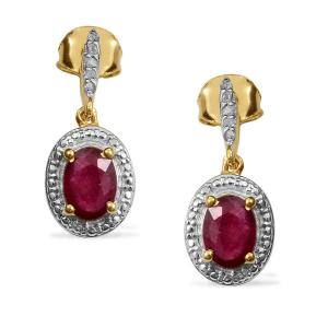 AFRICAN RUBY (OVL), DIAMOND EARRINGS IN 14K