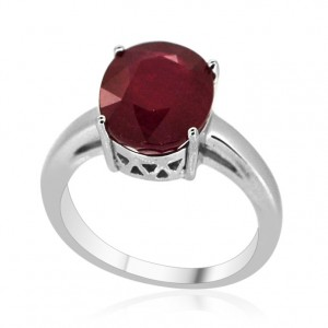 AFRICAN RUBY (OVL) SOLITAIRE RING IN STERLING