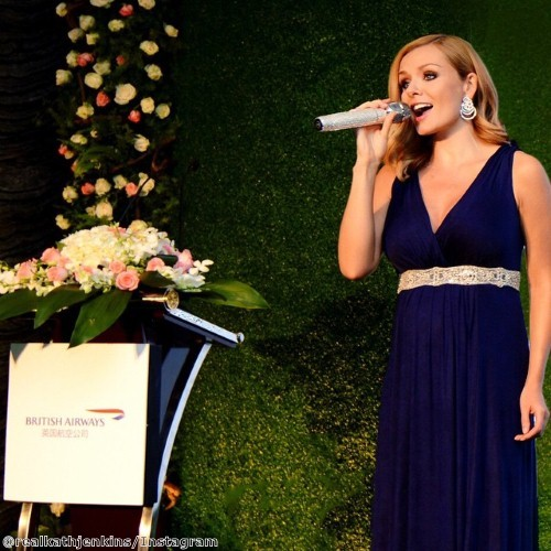 Katherine Jenkins glows in navy blue gown