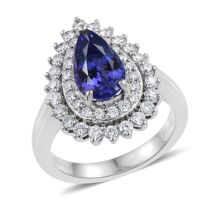 Rhapsody AAAA Pear Cut Tanzanite and Diamond Engagement Ring