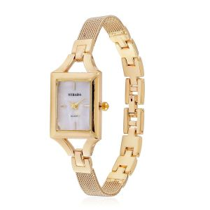 STRADA Japanese Movement White Dial Water Resistant Watch in Gold Tone with Stainless Steel Back and Chain Strap