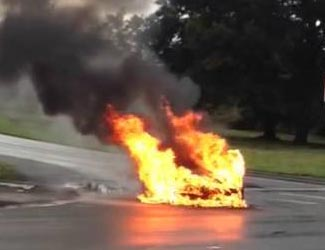 That blob, obscured by the flames from its burning batteries, was a Tesla.